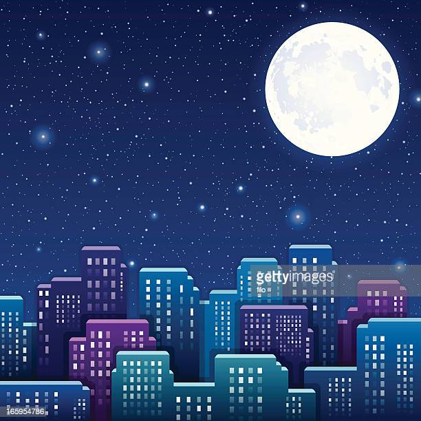 night city - moon stock illustrations
