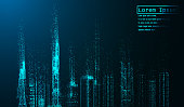Night city with glowing light effects. Urban cityscape. Shining glitter particles allocated on neutral background. Space for your message. vector illustration.