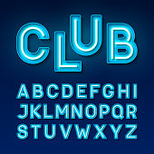 Night club vintage style neon font