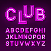 Night club vintage style neon font