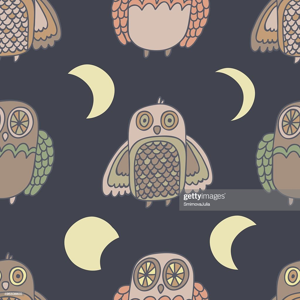 Night creatures seamless vector pattern with adorable owls, Moon phases.