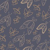 Night creatures seamless vector pattern with moths and fireflies.