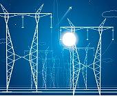Night, energy panorama, power lines