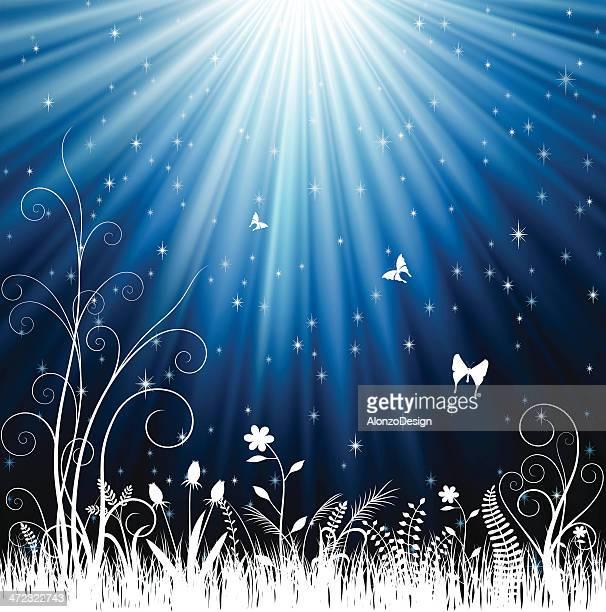 illustrazioni stock, clip art, cartoni animati e icone di tendenza di motivo floreale notte - filo d'erba