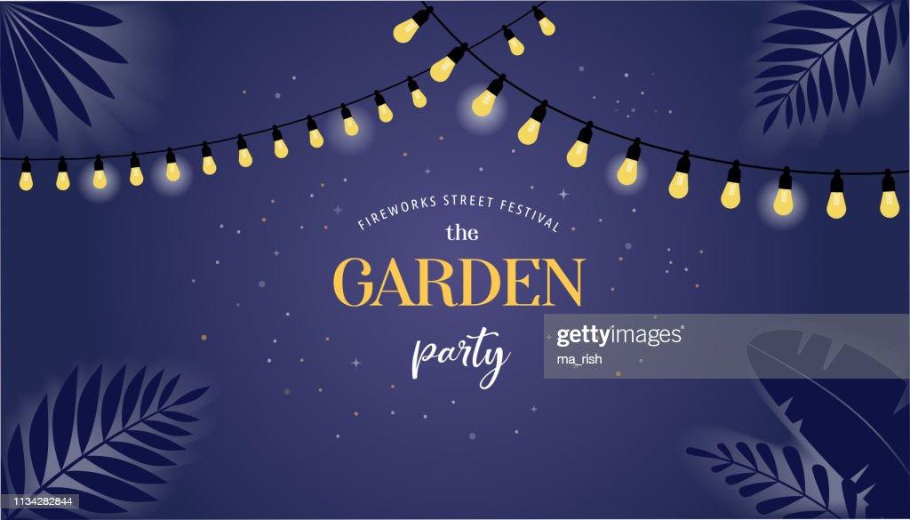 Night garden party banner, invitation card. Vector design
