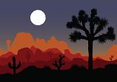 Night landscape with Joshua tree and mountains. Vector illustration.