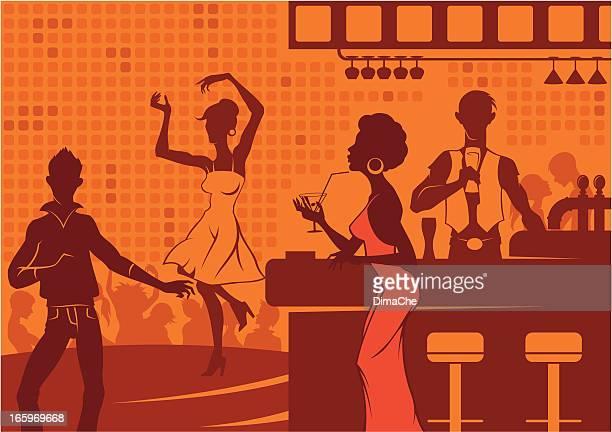 ilustraciones, imágenes clip art, dibujos animados e iconos de stock de vida nocturna en club - social grace