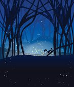 Night magic scene with fireflies