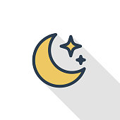 night, Moon and star thin line flat color icon. Linear vector symbol. Colorful long shadow design.