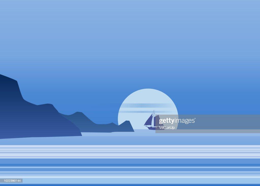 Night moonlight sailboat on blue sea ocean horizon, vector background, rock, sailing illustration, vector, isolared