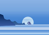 Night moonlight sailboat on blue sea ocean horizon, vector background, rock, sailing illustration, vector, isolared