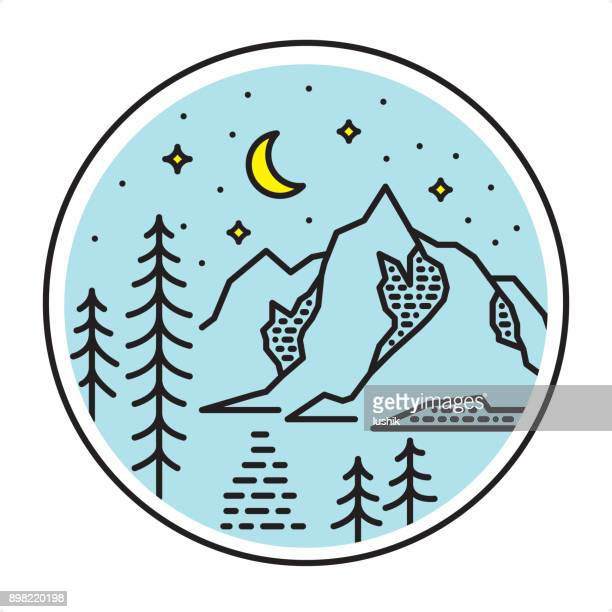 Night Mountain Lake icon - outline graphic style