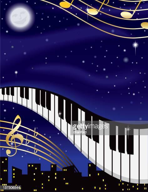night music - man in the moon stock illustrations, clip art, cartoons, & icons