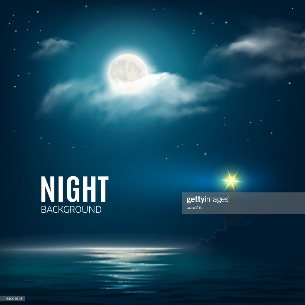 Night nature cloudy sky with stars, moon and sea