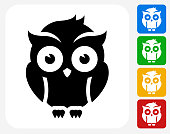 Night Owl Icon Flat Graphic Design