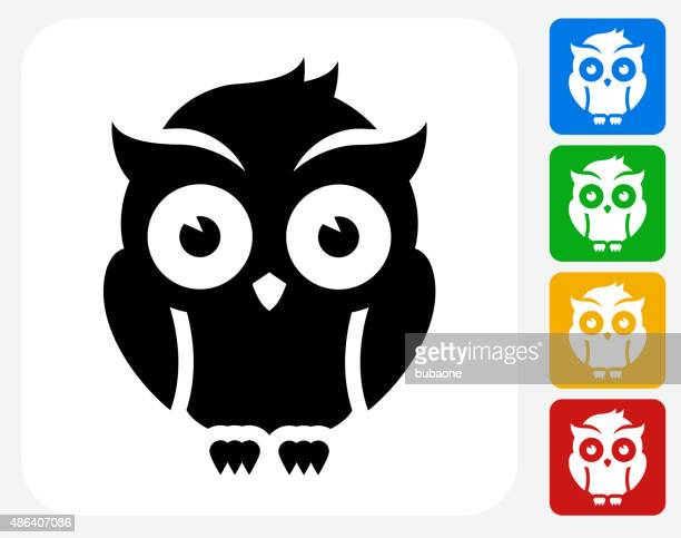 night owl icon flat graphic design - owl stock illustrations, clip art, cartoons, & icons