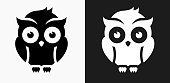 Night Owl Icon on Black and White Vector Backgrounds
