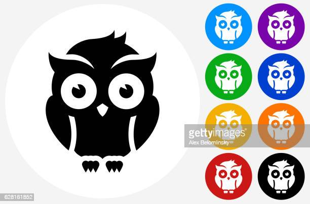 night owl icon on flat color circle buttons - owl stock illustrations, clip art, cartoons, & icons