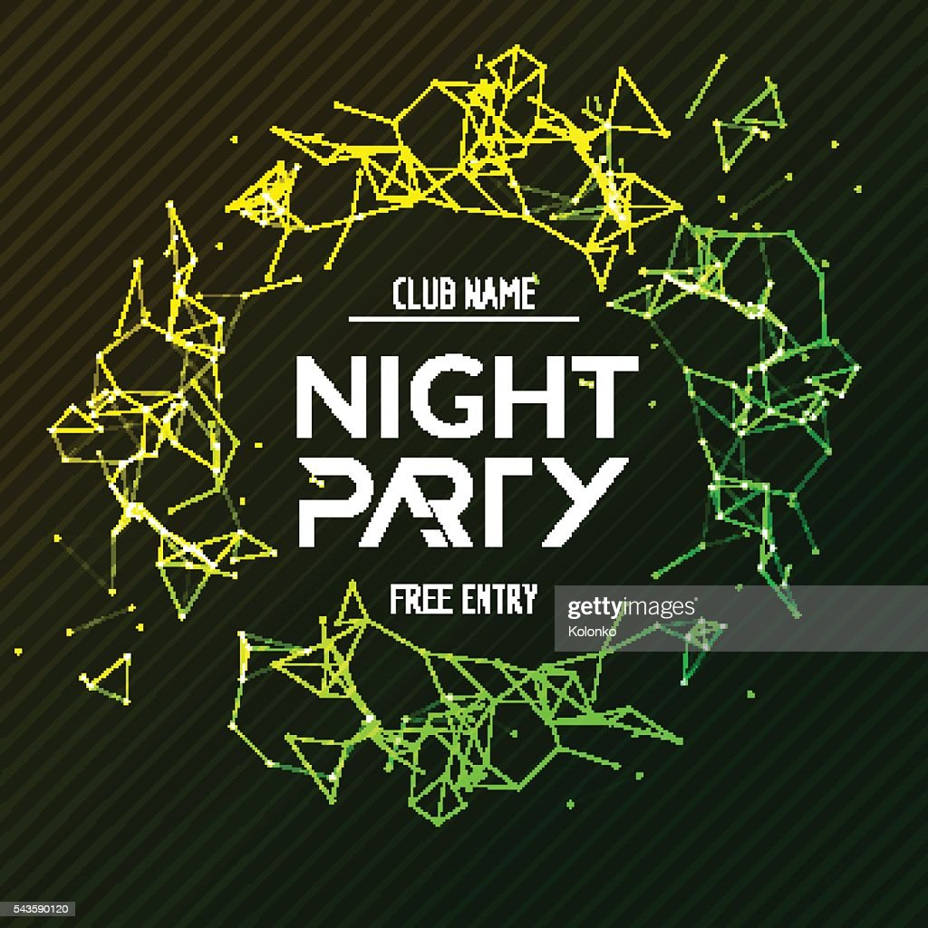 Night Party poster. Shiny banner club disco. Dj dance summer