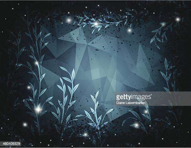 Night Polygon Background With Vines And Fireflies