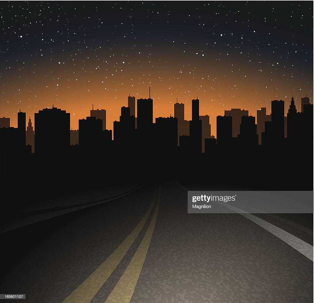 Night road to the town