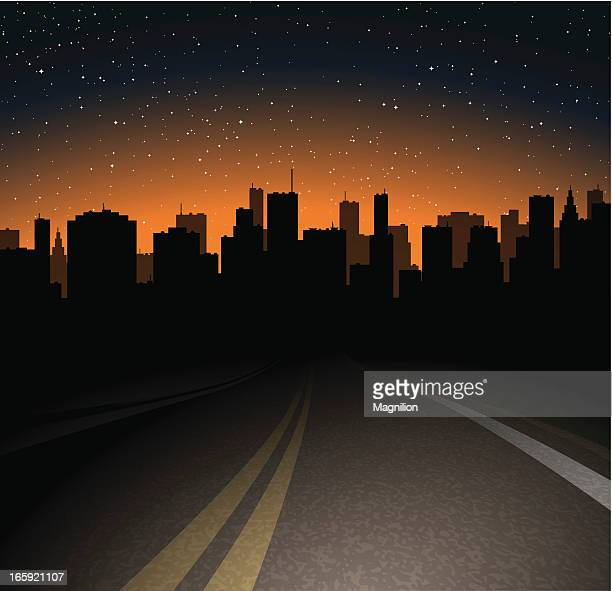 night road to the town - dark stock illustrations