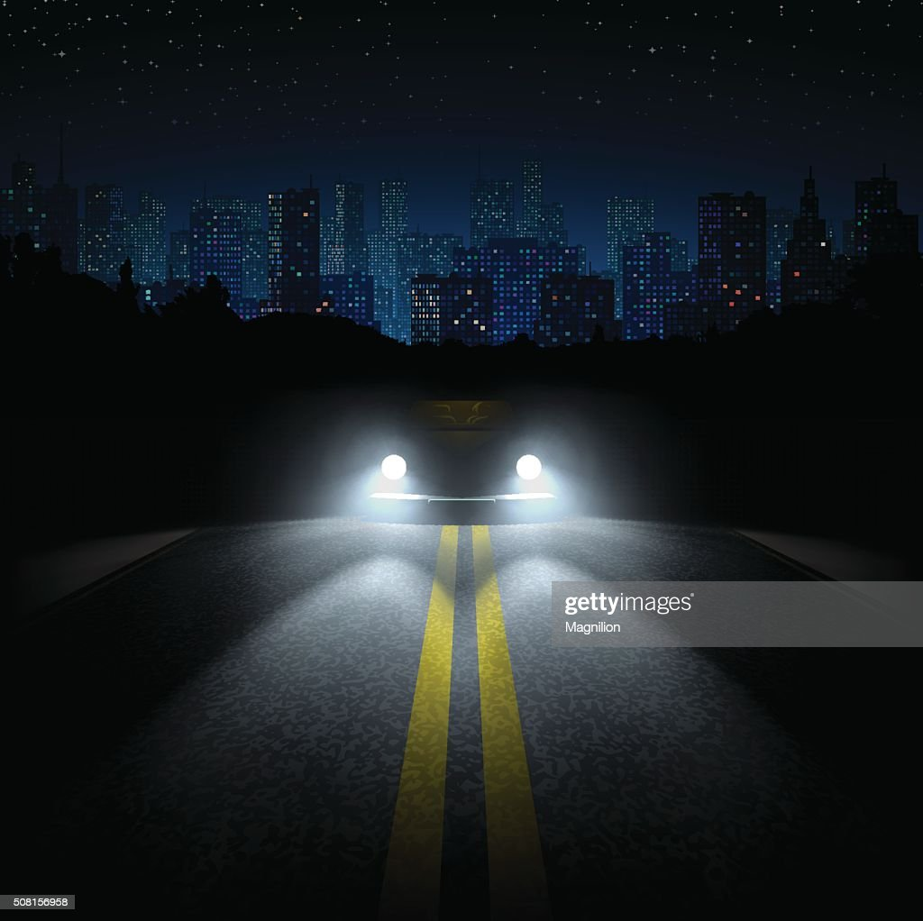 Night Road with the Car and the City on the Horizon : stock illustration
