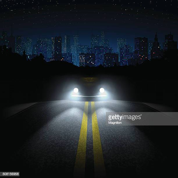 night road with the car and the city on the horizon - dark stock illustrations