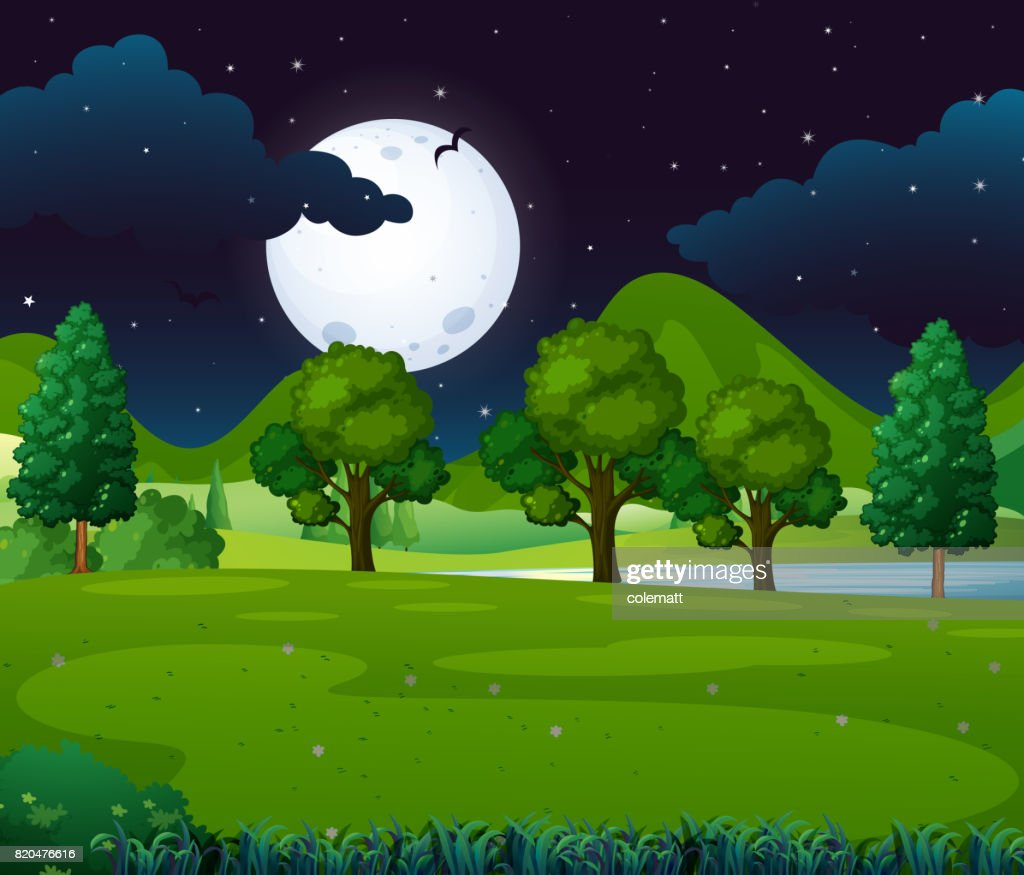 Night scene with fullmoon in the park