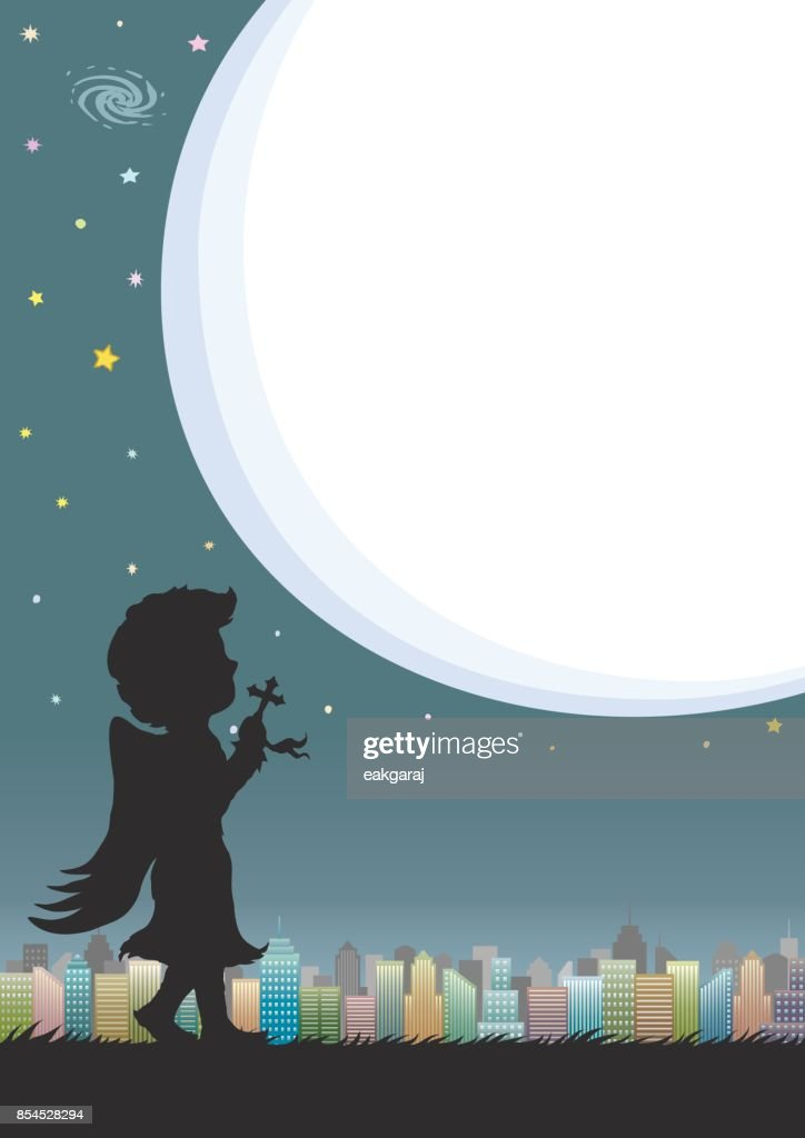 Night sky and city with speech bubble or moonlight. Silhouette of angel praying at starry night.