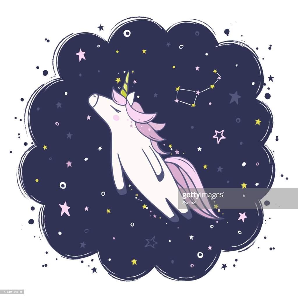 night sky and unicorn