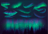 Night Sky, Aurora Borealis, Northern Lights Effect, Realistic Colored polar lights.