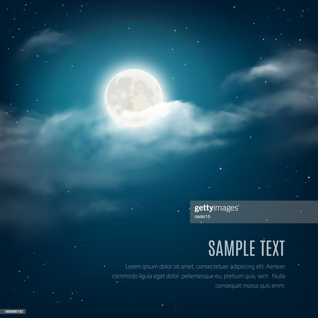 Night sky background, cloudy sky with the shining stars, moon