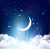Night sky background with with crescent moon and stars. Vector