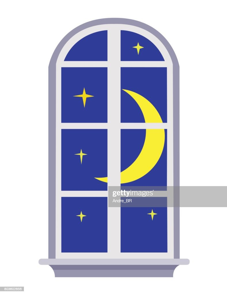 Night sky moon window design.