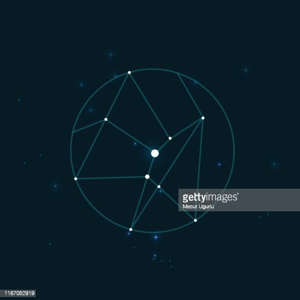 night sky with sagittarius constellation - constellation stock illustrations