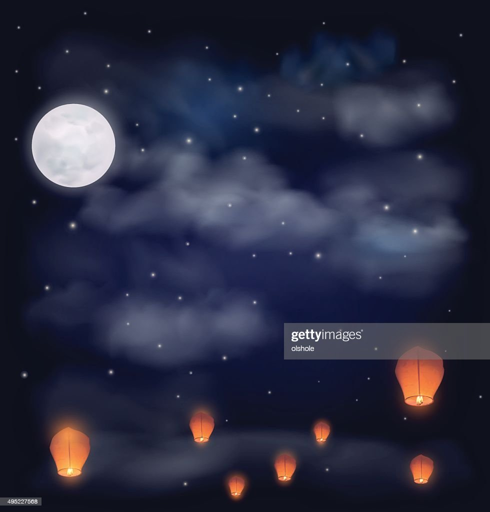 Night sky with the moon, stars and chinese wish lanterns