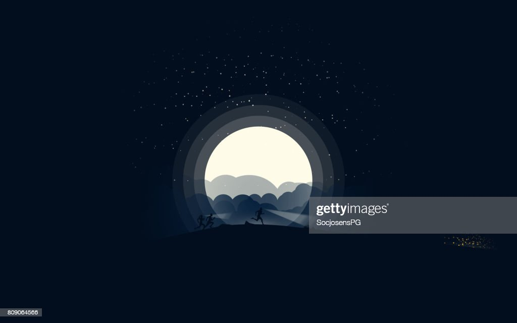 Night skyrunning in the moonlight