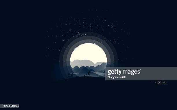 Nacht skyrunning in het maanlicht