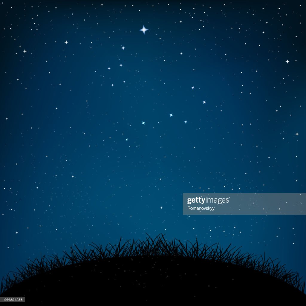 night starry sky grass and ground