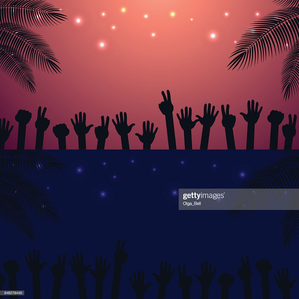 Night, Sunrise Party beach vector background with raised hands dancing.