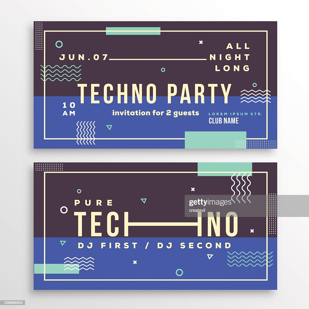 Night techno party club invitation card or flyer template modern night techno party club invitation card or flyer template modern vector art stopboris Images