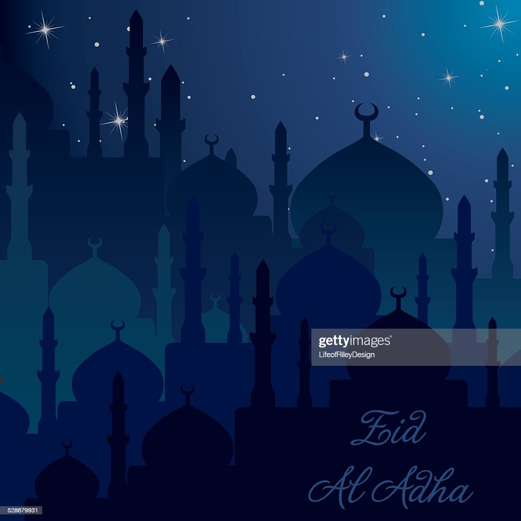 """Night time Mosques """"Eid Al Adha"""" card in vector format."""