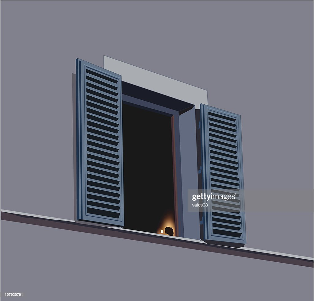 night window with shutters