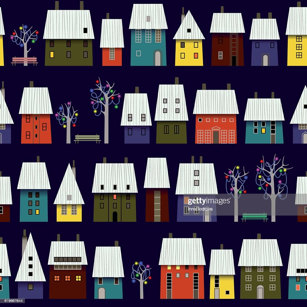 Night Winter Town Pattern.