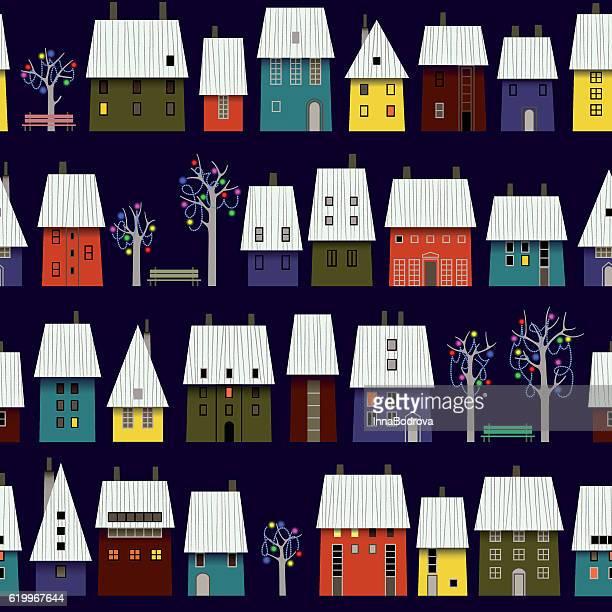 夜冬の町のパターン。 - ヨーロッパ文化点のイラスト素材/クリップアート素材/マンガ素材/アイコン素材