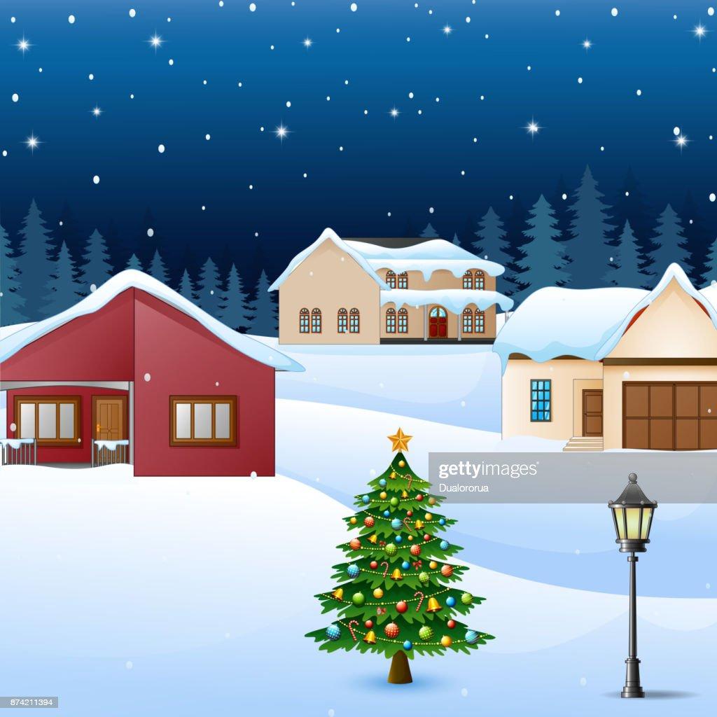 Tannenarten Weihnachtsbaum.Nachtwinterdorf Landschaft Mit Schnee Bedeckten Haus Und
