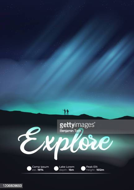 night with aurora, northern lights exploration adventure with hikers flyer - aurora borealis stock illustrations