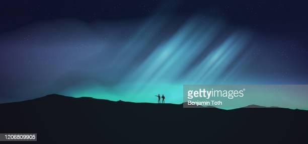night with aurora, northern lights exploration adventure with hikers - aurora borealis stock illustrations