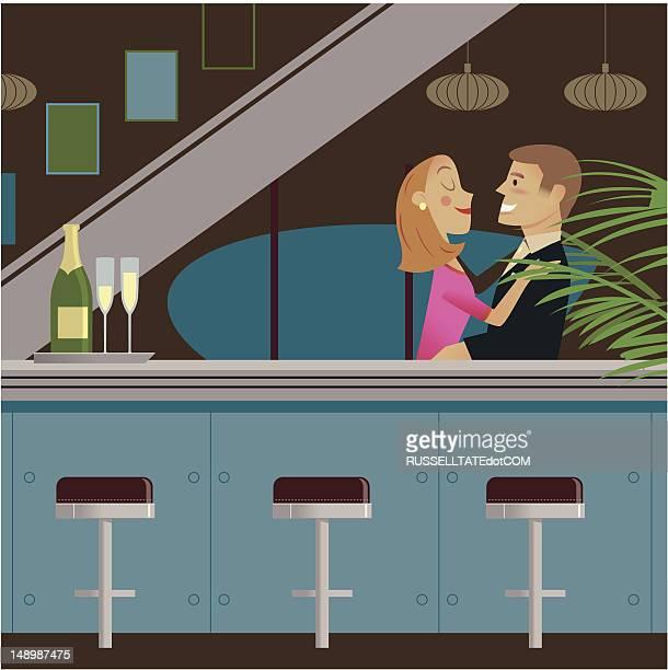 nightclub romance - flirting stock illustrations, clip art, cartoons, & icons